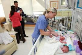 Nurse Cheryl Sisco tends to Stevie