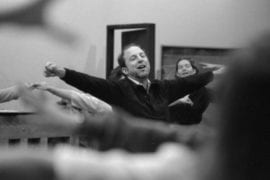 Robert Cohen leads an exercise during a drama rehearsal in 1981