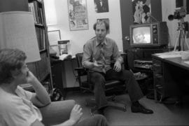 Cohen coaching students on recorded monologues