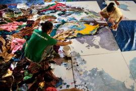 Yaron Hakim working on the mural