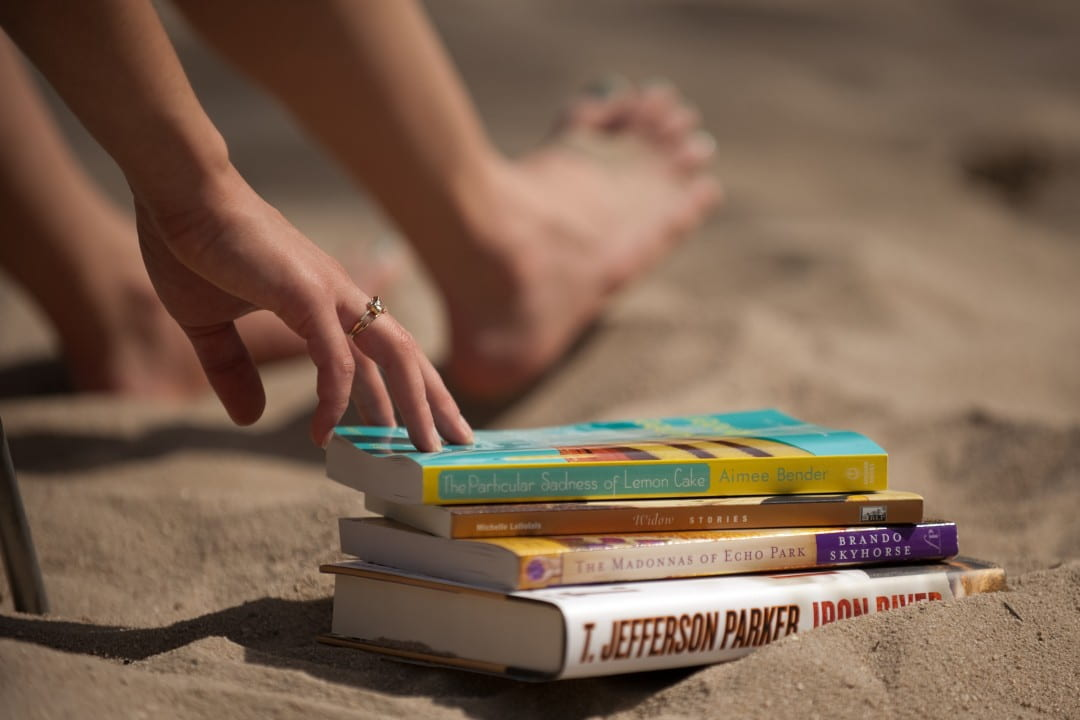 Summer Reading books in sand