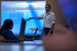 Nithin Jilla teaches about app development to middle schoolers