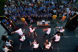 Dance crew performing