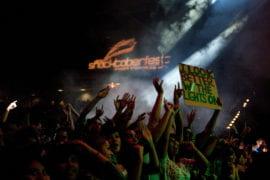 Crowd cheering below Shocktoberfest sign