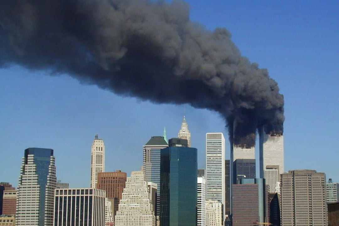 World Trade Center smoking after planes hit both towers