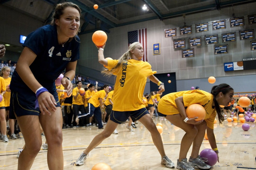 Students in last year's successful quest for the world-record dodgeball game