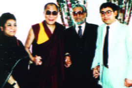Rowther's maternal grandfather, aunt and uncle with the Dalai Lama in 1994