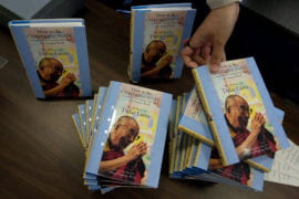 Copies of the Dalai Lama's latest book