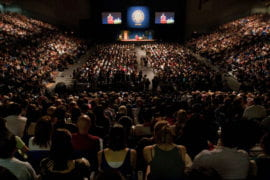 The crowd attending the Dalai Lama's address