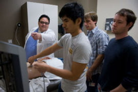 Marco Angulo instructs first year students