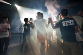 Women's basketball team takes the floor during Shocktoberfest