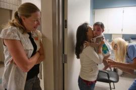 Nicole Hadley looks on as Alyssa is prepared