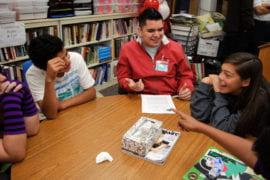 Students Cassi Dillon, 14, Ivan Morales, 14, and Judith Gonzalez, 14