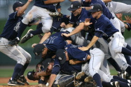 Anteater players celebrate making the 2007 College World Series