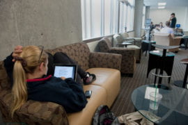 Morgaine Daniels studies physiology on her iPad