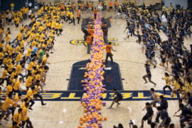 1,745 UCI students prepare to set a new Guinness world record for the largest dodgeball game