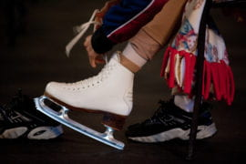 Zhou laces up her skates