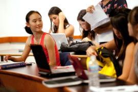 Zhou awaits a handout in her business management science class
