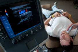 Will McKleroy and Sam Dodson practice portable ultrasound