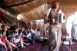 Olive Tree Initiative students lunch with the Majalis, a prominent Bedouin family