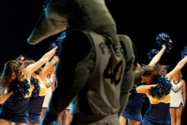 UCI pep squads contribute to the evening as Peter the Anteater looks on.