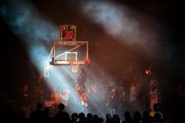 Smoke machine and dramatic lighting fill the room for Shocktoberfest