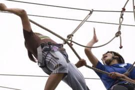 Jessica Kizer and Rosa Padilla struggle to hang on