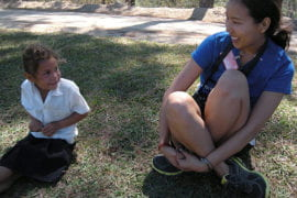 Thupten Phuntsog with Carla from El Junco Elementary