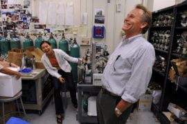 UCI chemistry department chair Donald Blake and grad student Julie Lee
