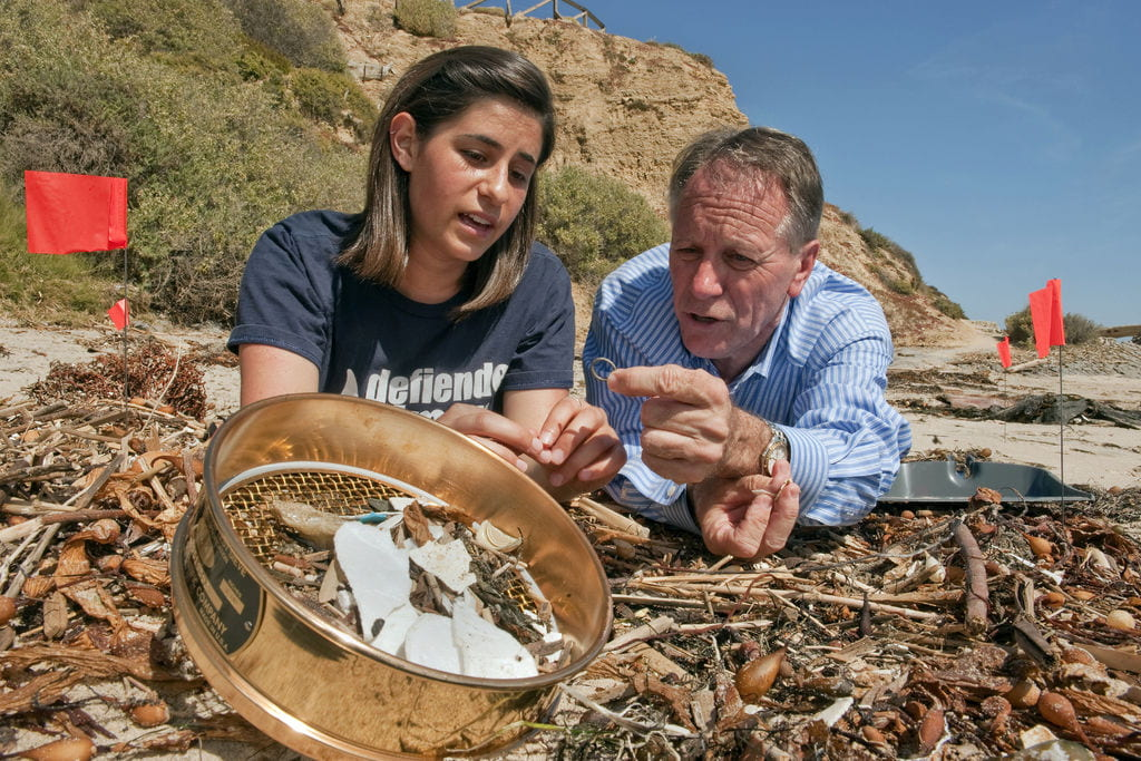 UCI professor William Cooper and his students count and catalog plastic trash