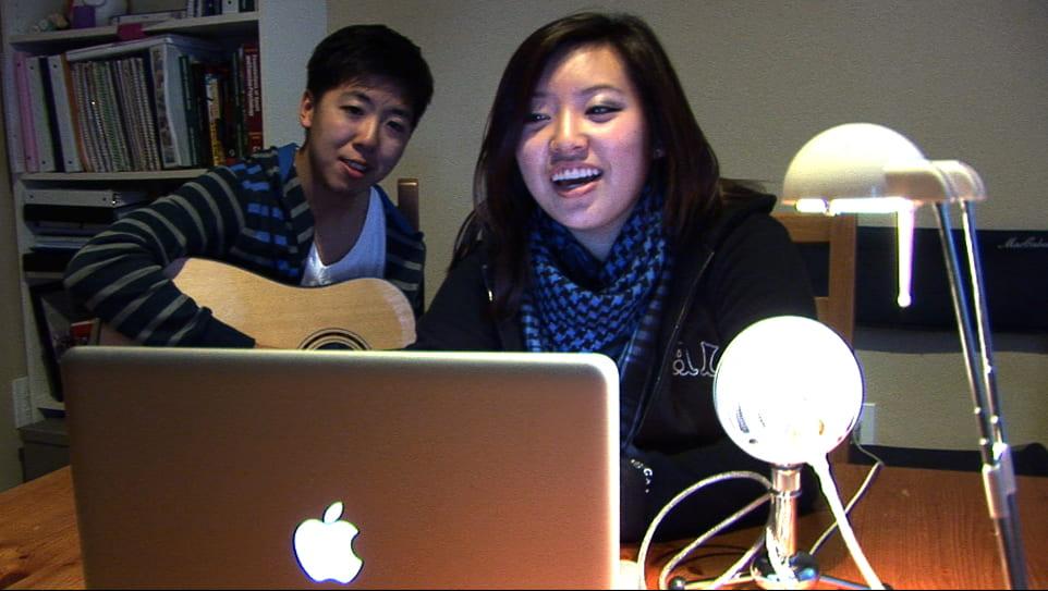 Jennifer Chung accompanied on guitar by engineering undergrad Johnny Yang