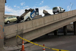 Cars are strewn across Santiago's Vespucio Norte highway