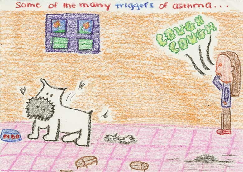 A student's drawing of common allergy triggers