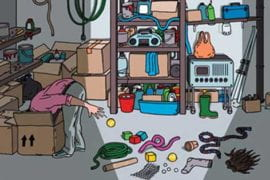 Graphic of junk in a garage