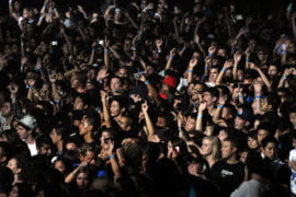 A sea of students enjoy the Bren Center festivities.