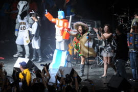 Andrew Mitsuhashi, dressed as Optimus Prime