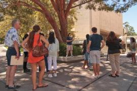Campus tour guide Liz Seward