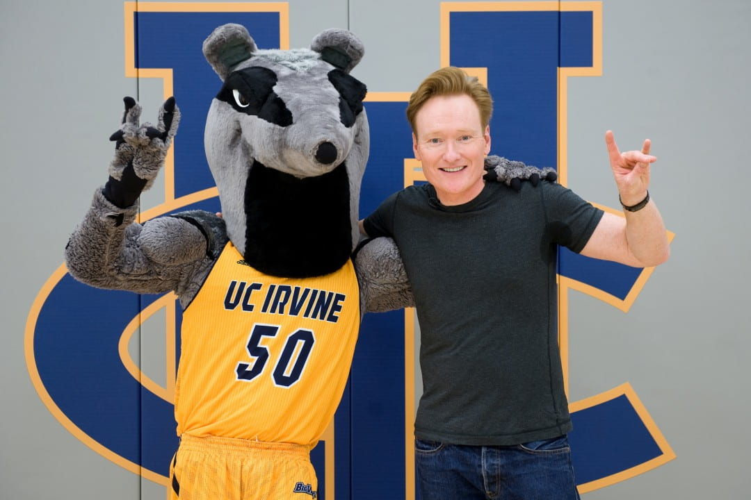 Conan O'Brien doing the Zot with Peter the Anteater