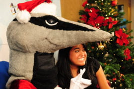 Peter the Anteater stands in for Santa
