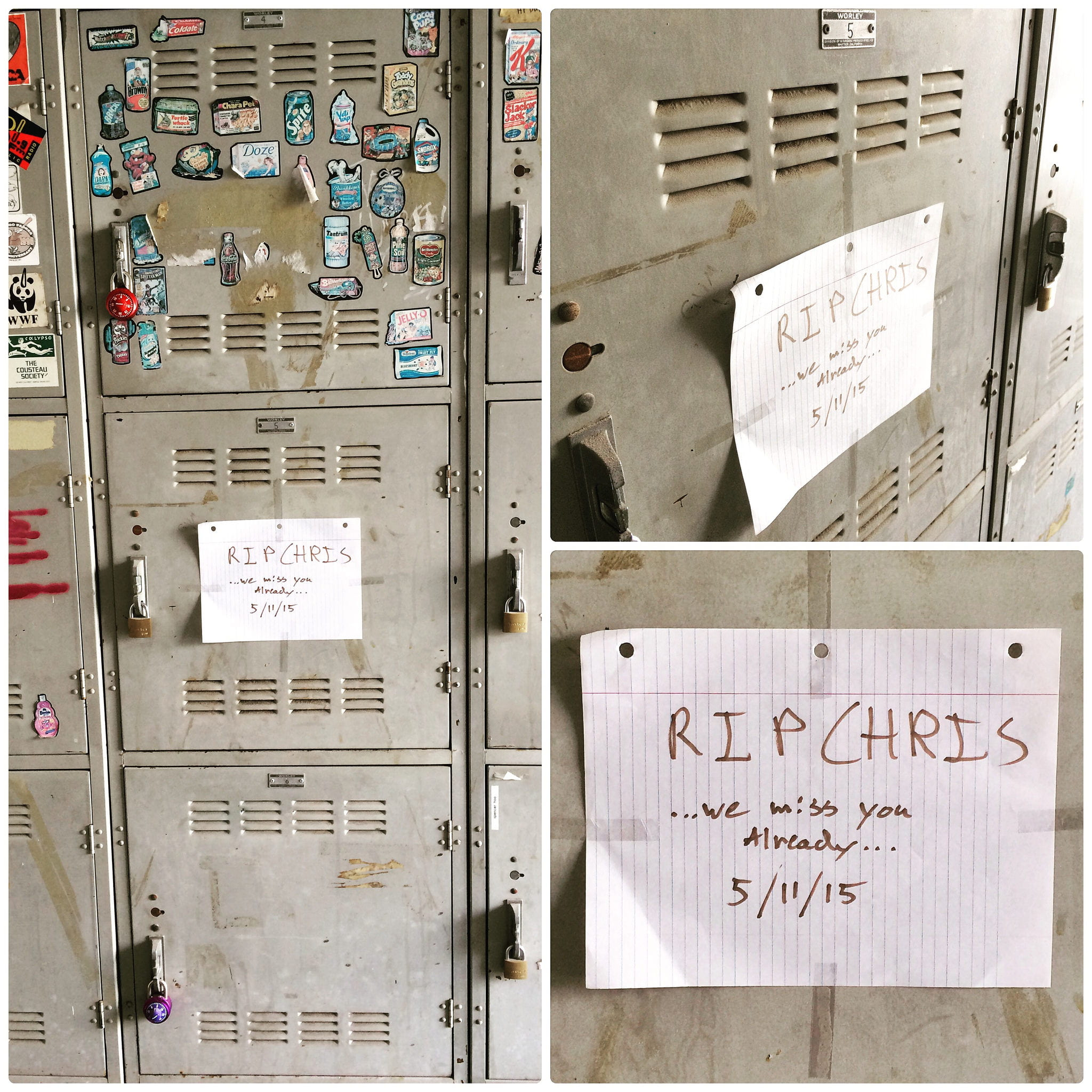The locker in which Chris Burden confined himself as part of his master's thesis, bears a tribute from current students who are inspired by the artist's commitment to pushing the boundaries