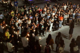 More than 300 students gathered last week for a vigil to show compassion for and solidarity with victims of the Nepal earthquake