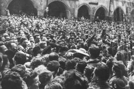 More than 30,000 people filled Prague's Old Town Square on March 27, 1957, to catch a glimpse of Olympians Harold and Olga Connolly