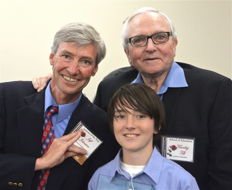 Jeff Johnston with son Shane and fellow Lecturer Timothy Tift