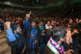Engineering graduates exult at the conclusion of their June 12 commencement