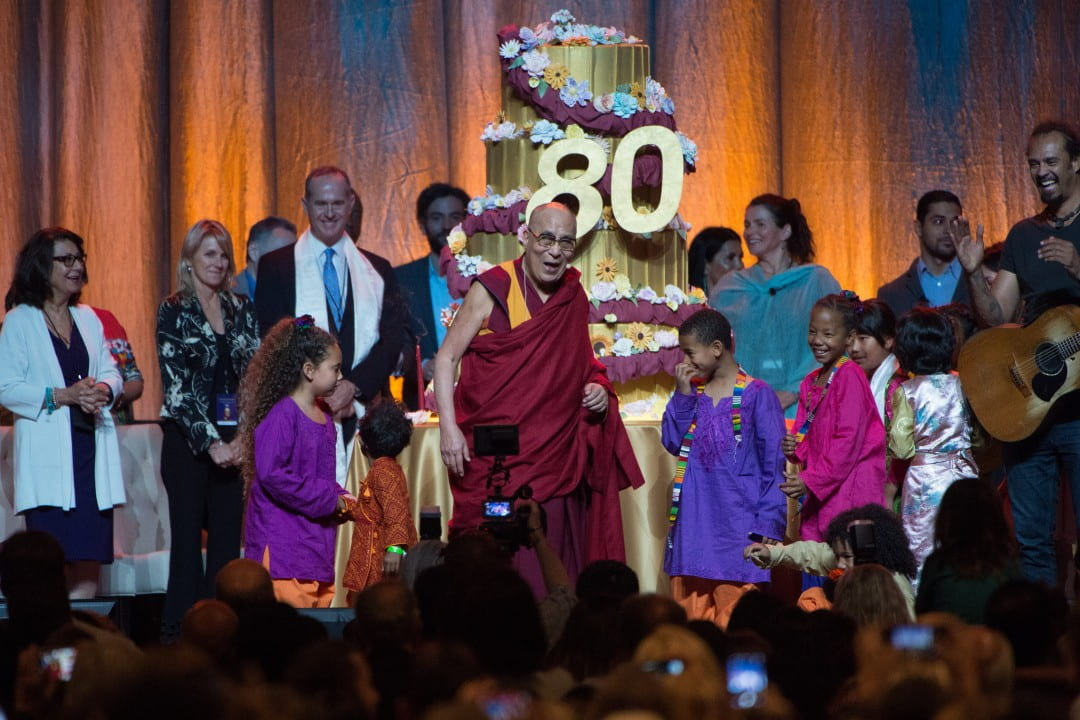 The Dalai Lama celebrating his 80th birthday