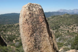 Unnamed fragile rock stack in Grass Valley area in the San Bernardino Mountains in California