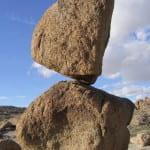 A precariously balanced rock near Searchlight, Nev.