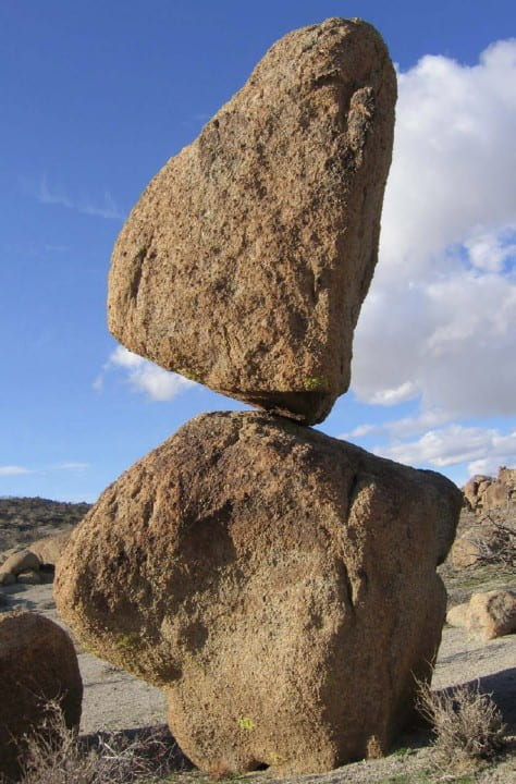 A precariously balanced rock near Searchlight, Nev.