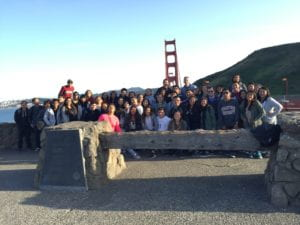 Anteater Academy students pose by San Francisco's Golden Gate Bridge during a spring break tour of college campuses. Matthew Conover / Valley High School
