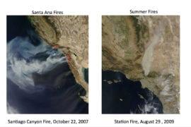 Southern California wildfires exhibit split personalities